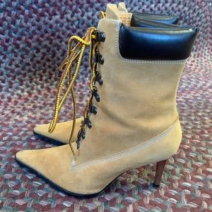 NYLA Size 7 Fine Leather Suede Heeled Ankle Boots